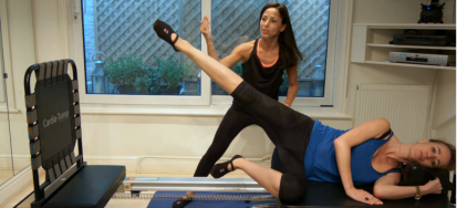 Peacock Pilates Reformer Studio London - Side lying jumps - Working Glutes and Legs - private and personalised Pilates sessions in London W2