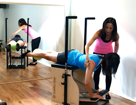 Peacock Pilates London - Reformer and Stability Chair Studio W2 - Pilates Chair/ Stability Chair/ Wunda Chair- Esin Arm Prone